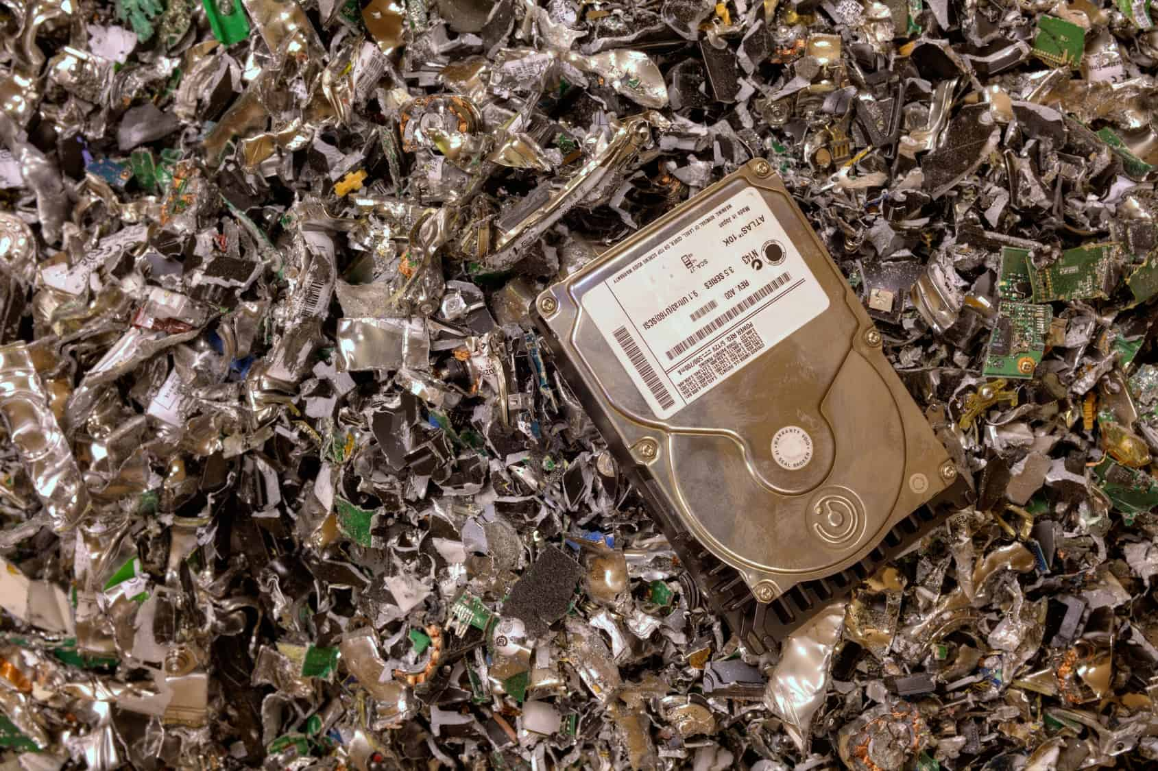 Recycling - Crushed hard drives after going through onsite data destruction